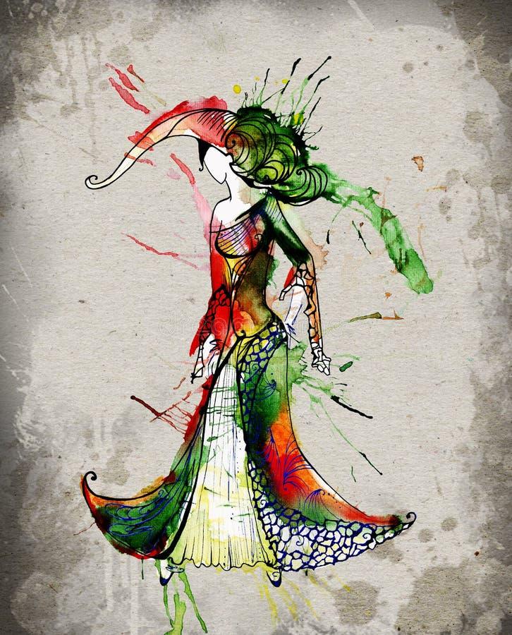Muestra del zodiaco del acuario como muchachas hermosas stock de ilustración
