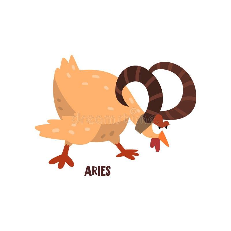Muestra del zodiaco del aries, carácter divertido del polluelo, ejemplo del vector del elemento del horóscopo en un fondo blanco stock de ilustración