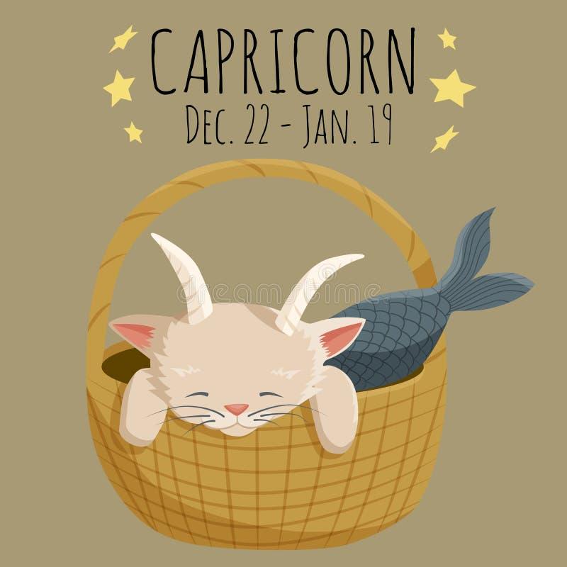 Muestra del zodiaco del Capricornio; carácter del gato de la historieta estilizado como capri ilustración del vector