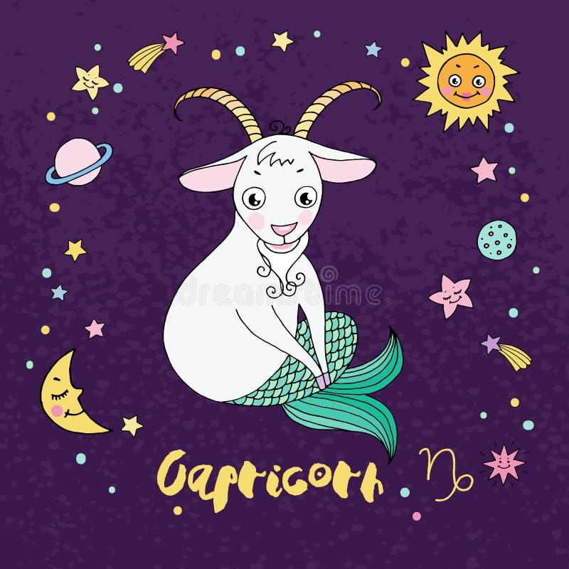 Muestra del zodiaco del Capricornio en fondo del cielo nocturno con las estrellas libre illustration