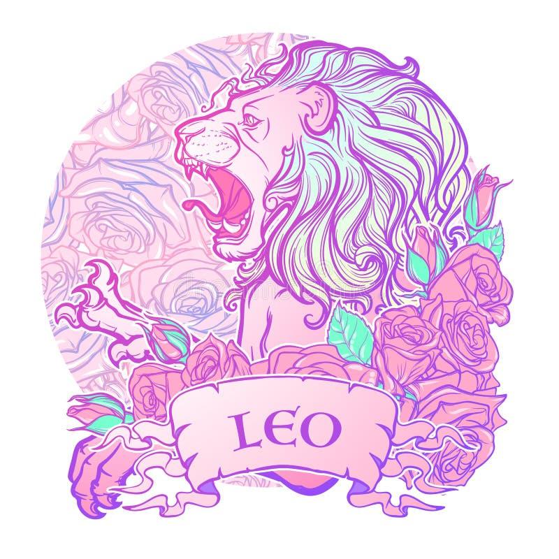 Muestra del zodiaco de Leo con las rosas decorativas de un marco stock de ilustración