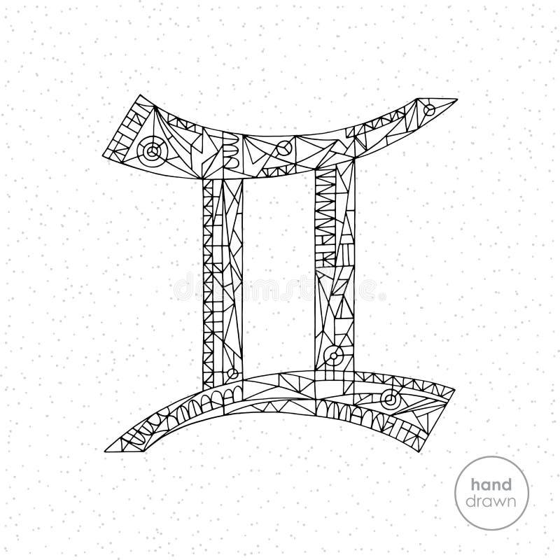 Muestra del zodiaco de los géminis Ejemplo dibujado mano del horóscopo del vector Página astrológica del colorante stock de ilustración