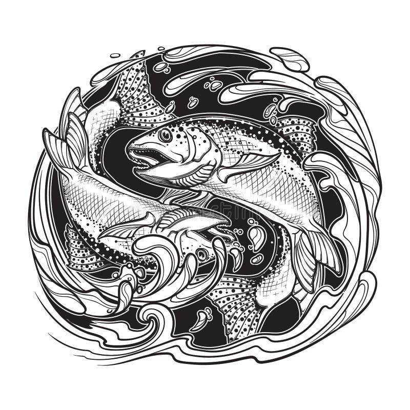 Muestra del zodiaco del agua del elemento - Piscis libre illustration