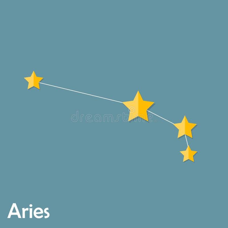 Muestra del zodiaco del aries de las estrellas brillantes hermosas libre illustration