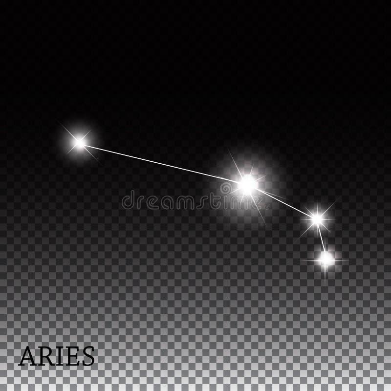 Muestra del zodiaco del aries de las estrellas brillantes hermosas stock de ilustración