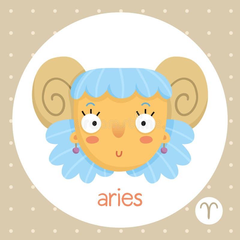 Muestra del zodiaco del aries, muchacha con los cuernos stock de ilustración