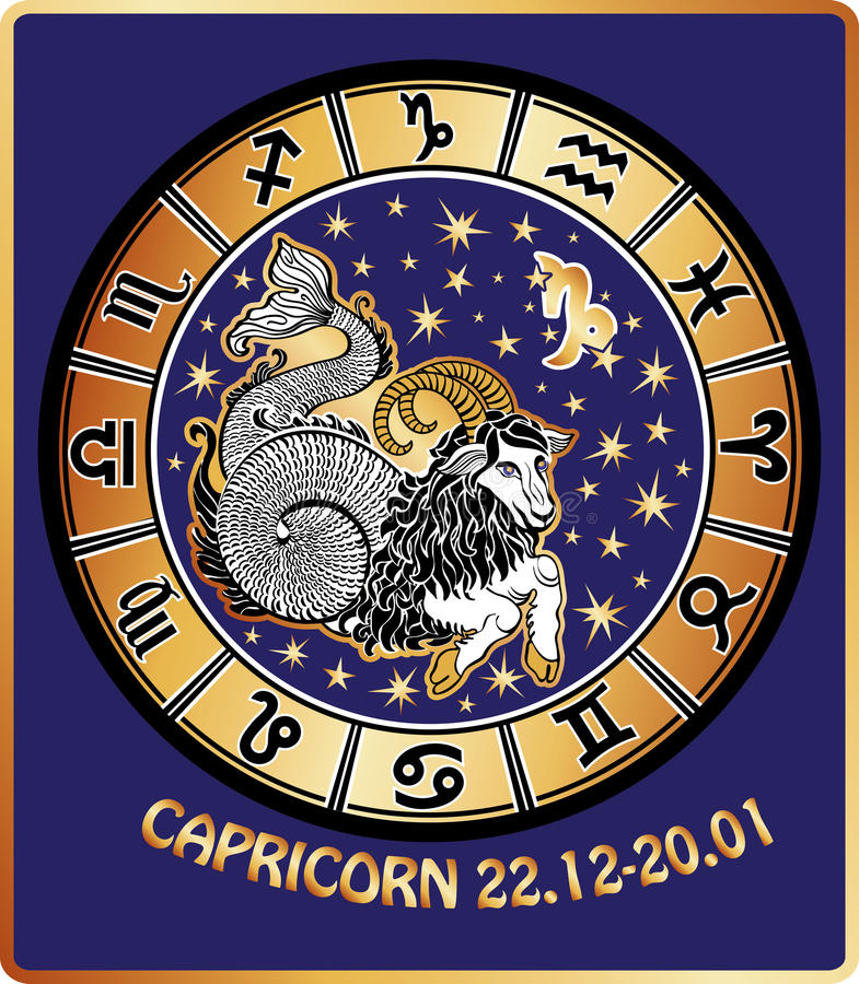 Muestra del zodiaco del Capricornio. Círculo del horóscopo. Retro ilustración del vector