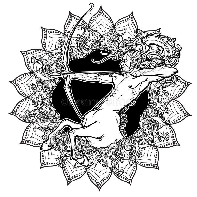 Muestra del zodiaco del sagitario con un marco decorativo de las llamaradas del sol y de los pétalos del girasol Arte del concept stock de ilustración