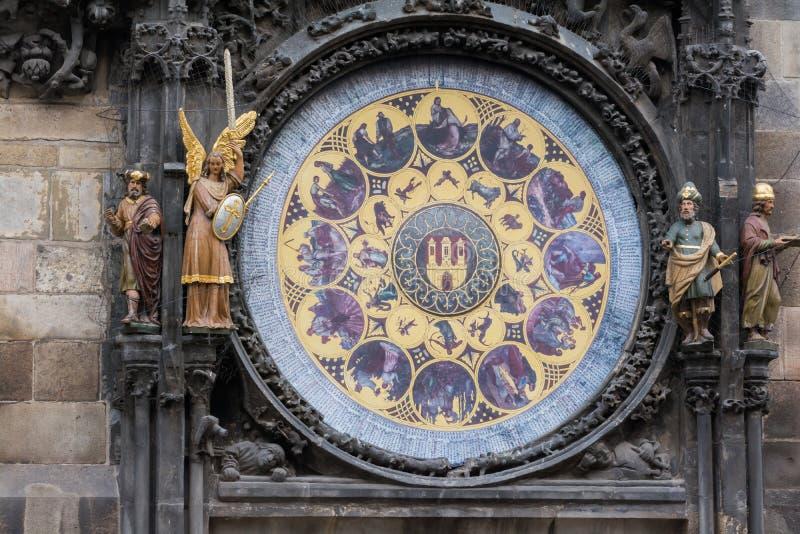 Muestra del zodiaco en el reloj famoso de Praga imagenes de archivo