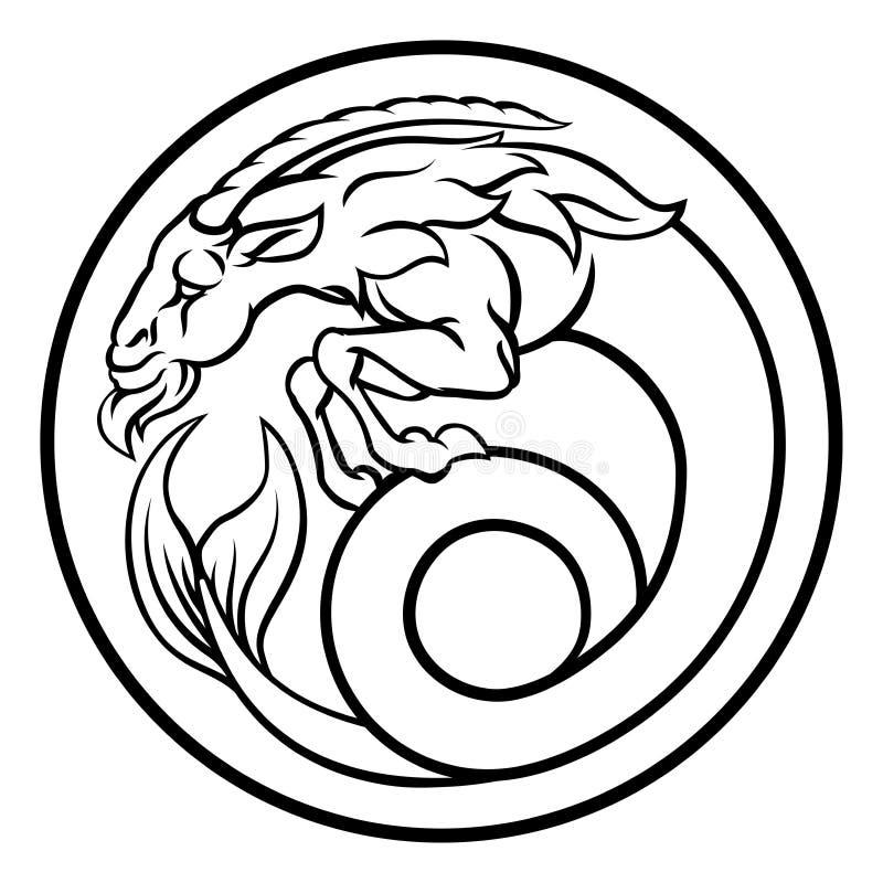 Muestra del zodiaco del horóscopo de la astrología del Capricornio ilustración del vector