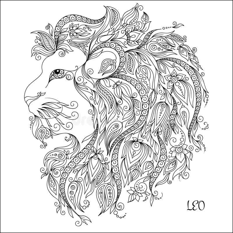 Muestra del zodiaco - Leo ilustración del vector