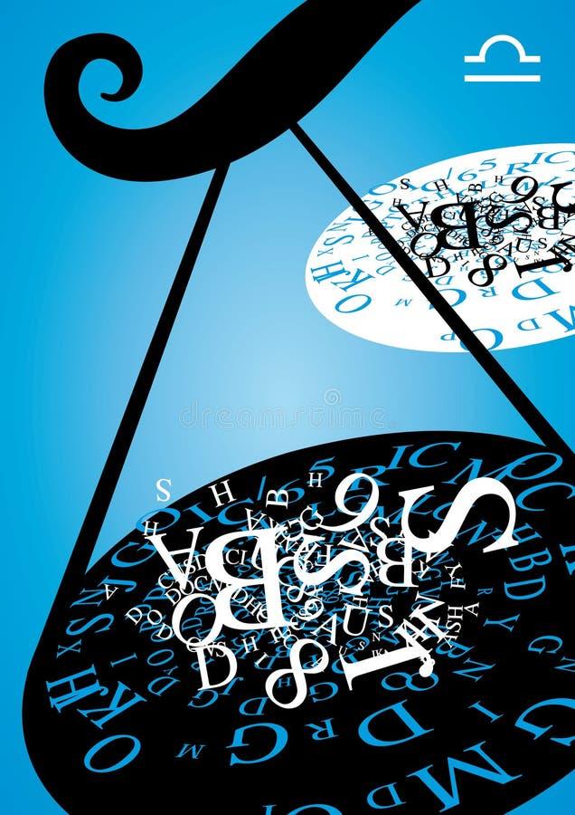 Muestra del zodiaco - libra ilustración del vector