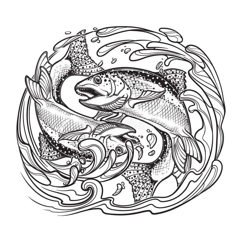 Muestra del zodiaco - Piscis Dos pescados que saltan del agua Bosquejo aislado en el fondo blanco stock de ilustración