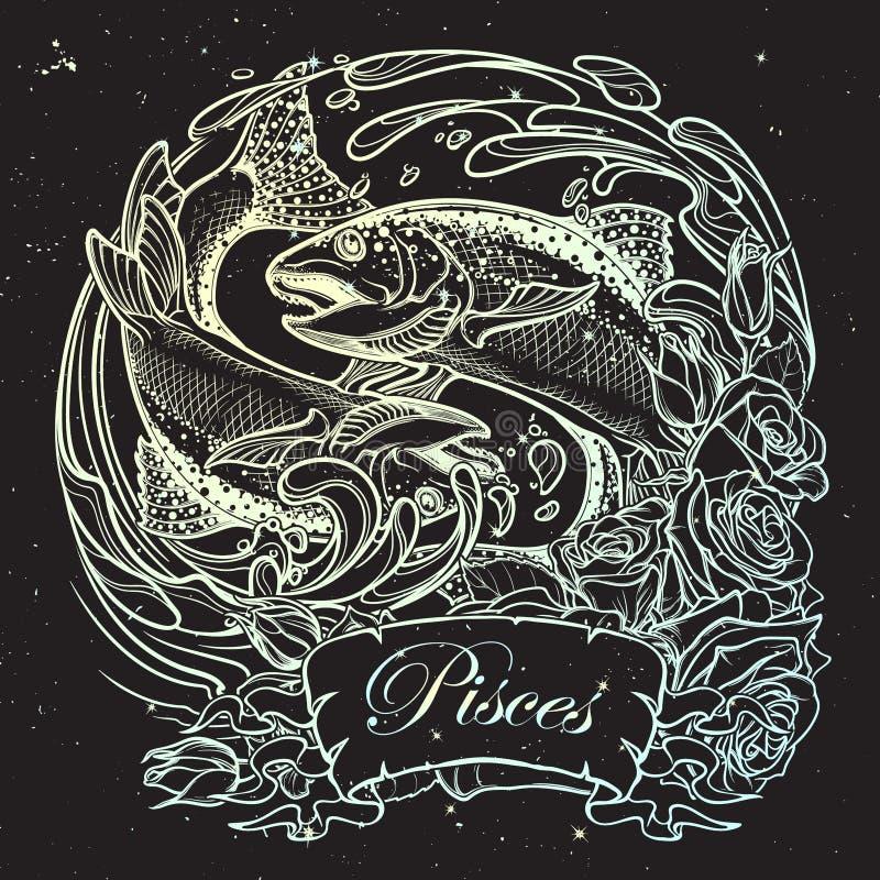 Muestra del zodiaco - Piscis Dos pescados que saltan del bosquejo del agua en fondo del cielo nocturno stock de ilustración