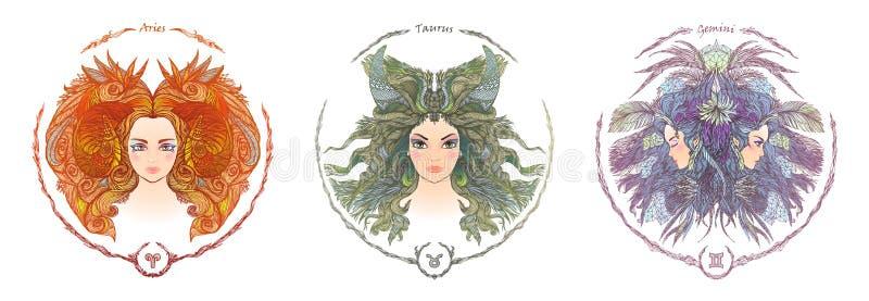 Muestra del zodiaco Retrato de una mujer Aries, tauro, géminis ilustración del vector