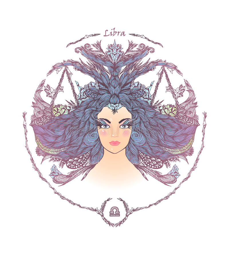 Muestra del zodiaco Retrato de una mujer Libra ilustración del vector