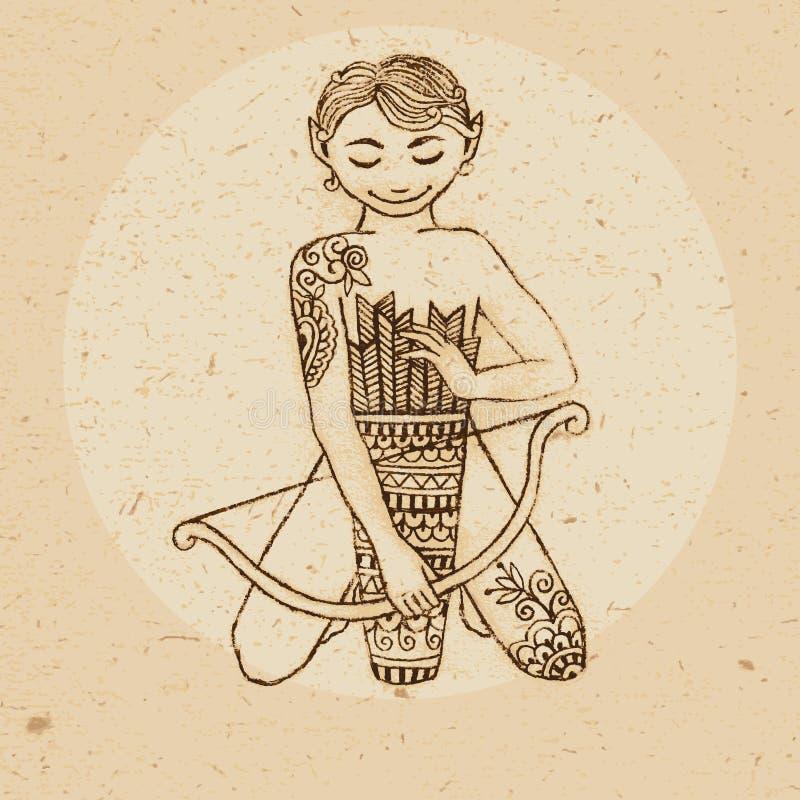 Muestra del zodiaco - sagitario stock de ilustración