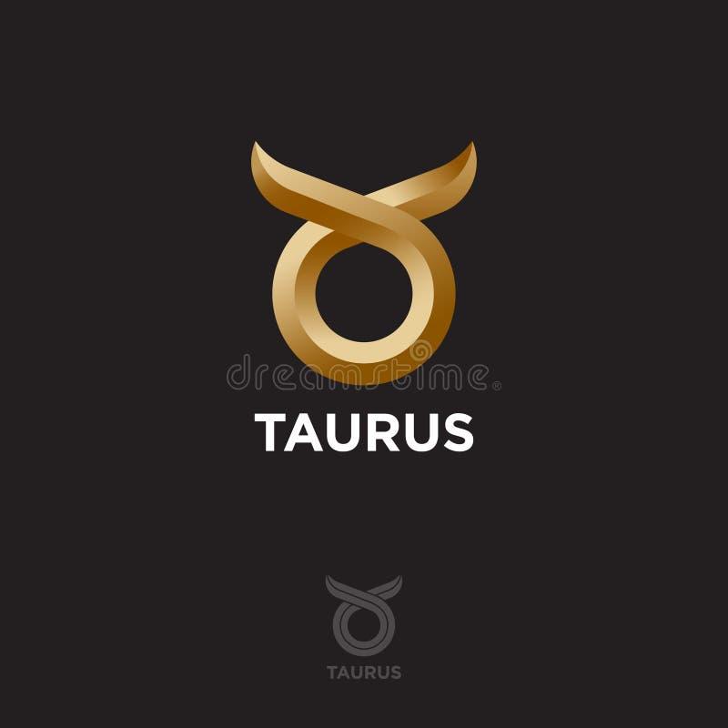 Muestra del zodiaco - tauro Cabeza abstracta del toro con los cuernos Logotipo o emblema de oro ilustración del vector