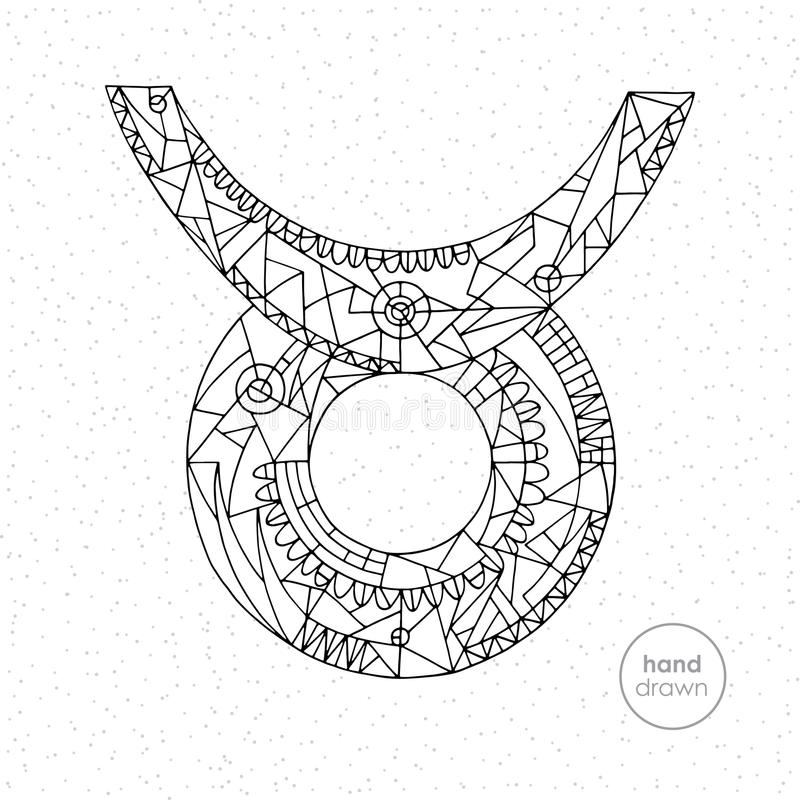 Muestra del zodiaco del tauro Ejemplo dibujado mano del horóscopo del vector Página astrológica del colorante stock de ilustración
