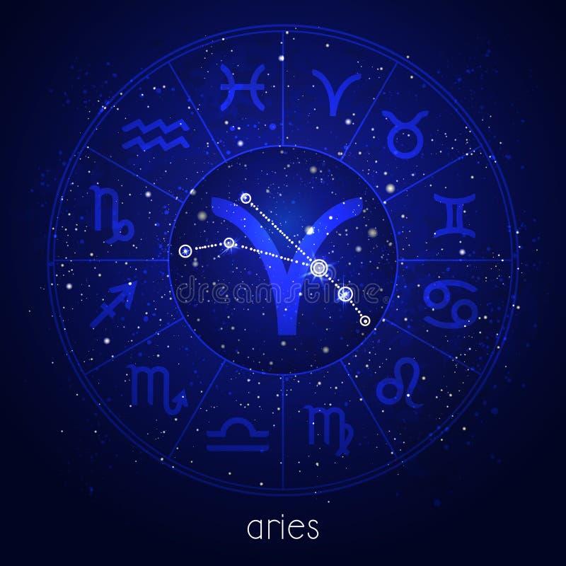 Muestra del zodiaco y ARIES de la constelación con el círculo del horóscopo y símbolos sagrados en el fondo estrellado del cielo  ilustración del vector
