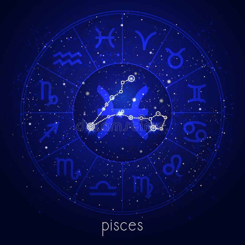 Muestra del zodiaco y constelación PISCIS con el círculo del horóscopo y símbolos sagrados en el fondo estrellado del cielo noctu libre illustration