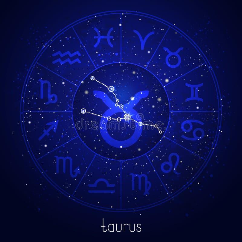 Muestra del zodiaco y TAURO de la constelación con el círculo del horóscopo y símbolos sagrados en el fondo estrellado del cielo  libre illustration