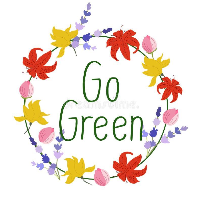 Muestra dibujada mano del vector La caligrafía va verde Va la insignia verde Ilustración del vector ilustración del vector