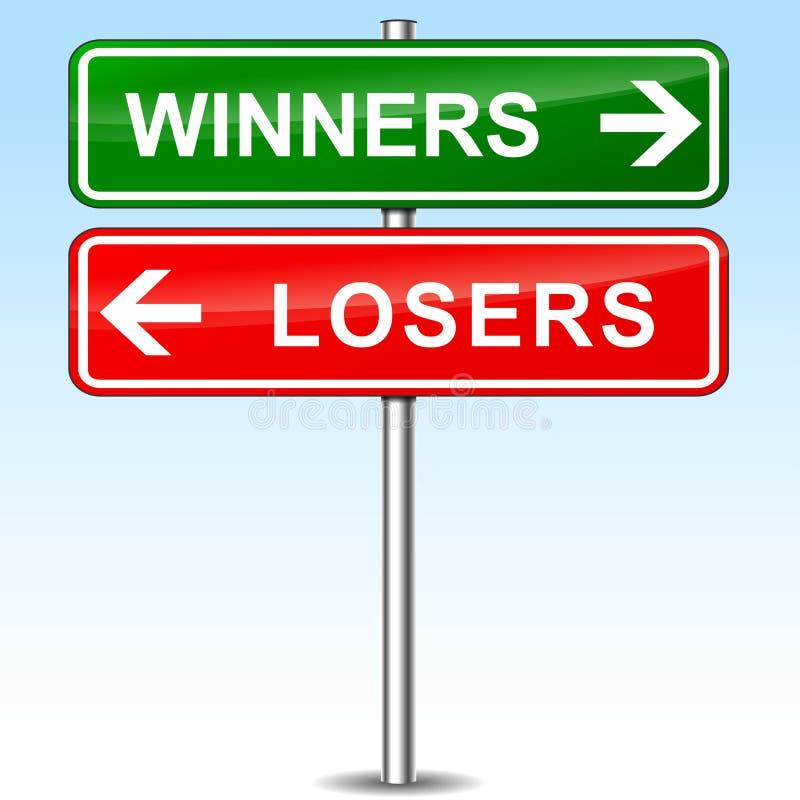 Muestra direccional de los ganadores y de los perdedores ilustración del vector