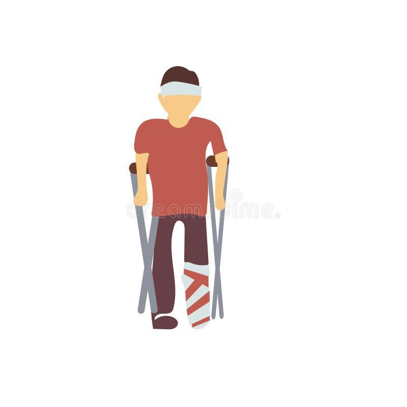 muestra discapacitada y símbolo del vector del vector del hombre aislados en el fondo blanco, concepto discapacitado del logotipo ilustración del vector