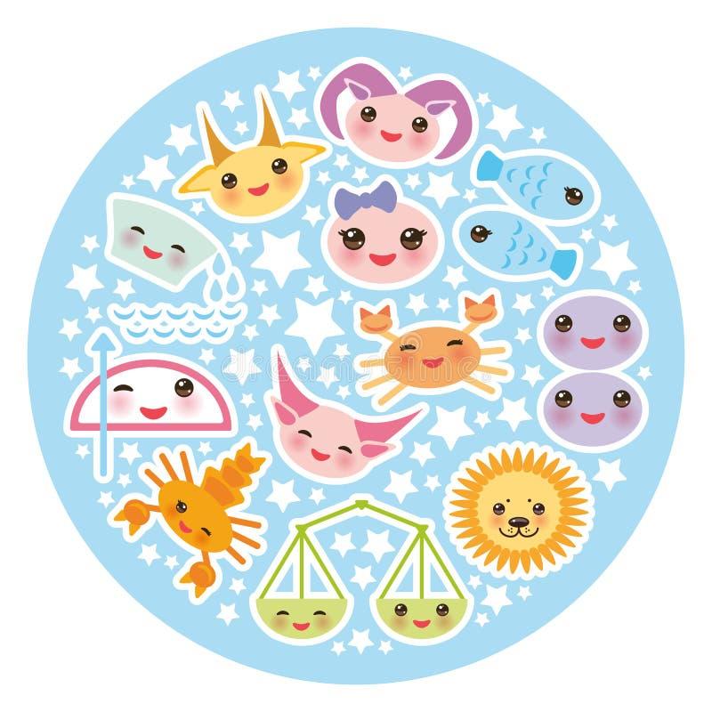 Muestra divertida del zodiaco de Kawaii, sistema astrológico del stiker ilustración del vector