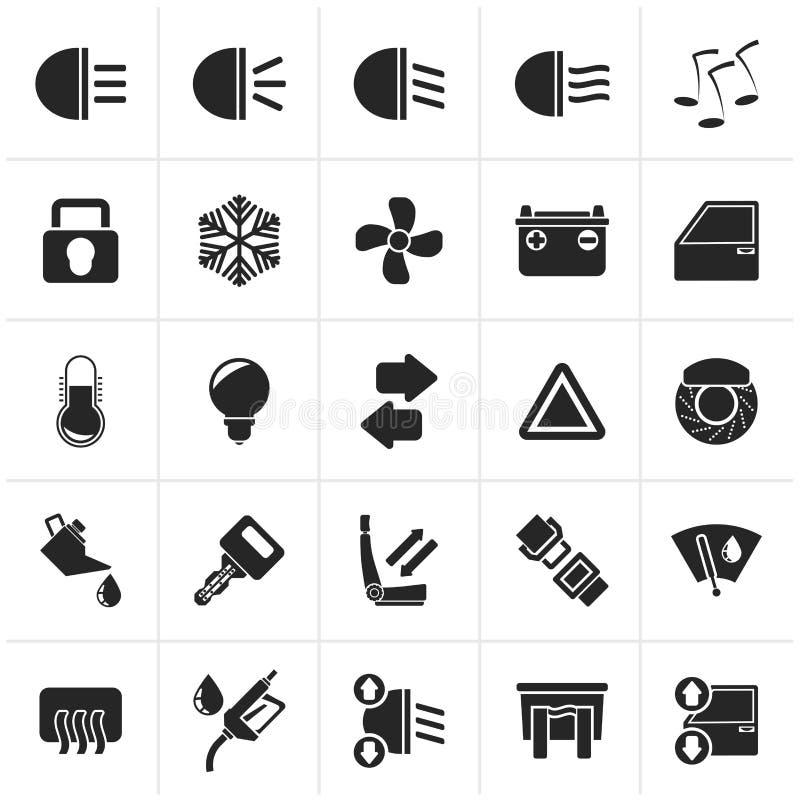 Muestra e iconos negros del interfaz del coche ilustración del vector