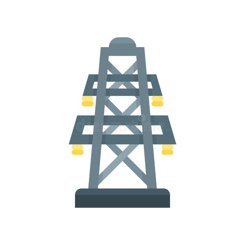 Muestra eléctrica y símbolo del vector del icono de la torre aislados en el CCB blanco libre illustration