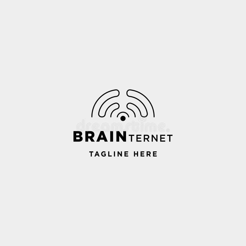 muestra elegante del icono del símbolo de la conexión del wifi del cerebro del vector del diseño del logotipo de Internet ilustración del vector
