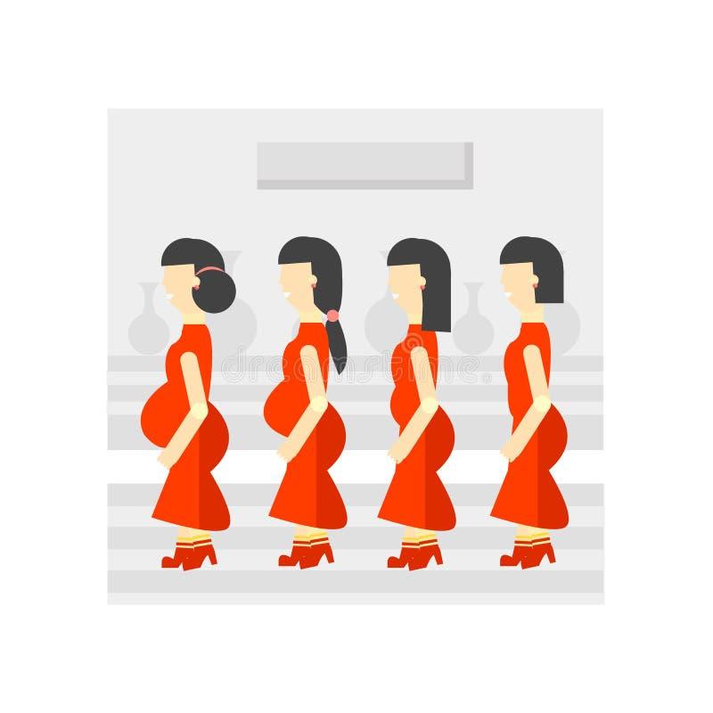 Muestra embarazada y símbolo del vector del icono de la prioridad aislados en el fondo blanco, concepto embarazada del logotipo d libre illustration