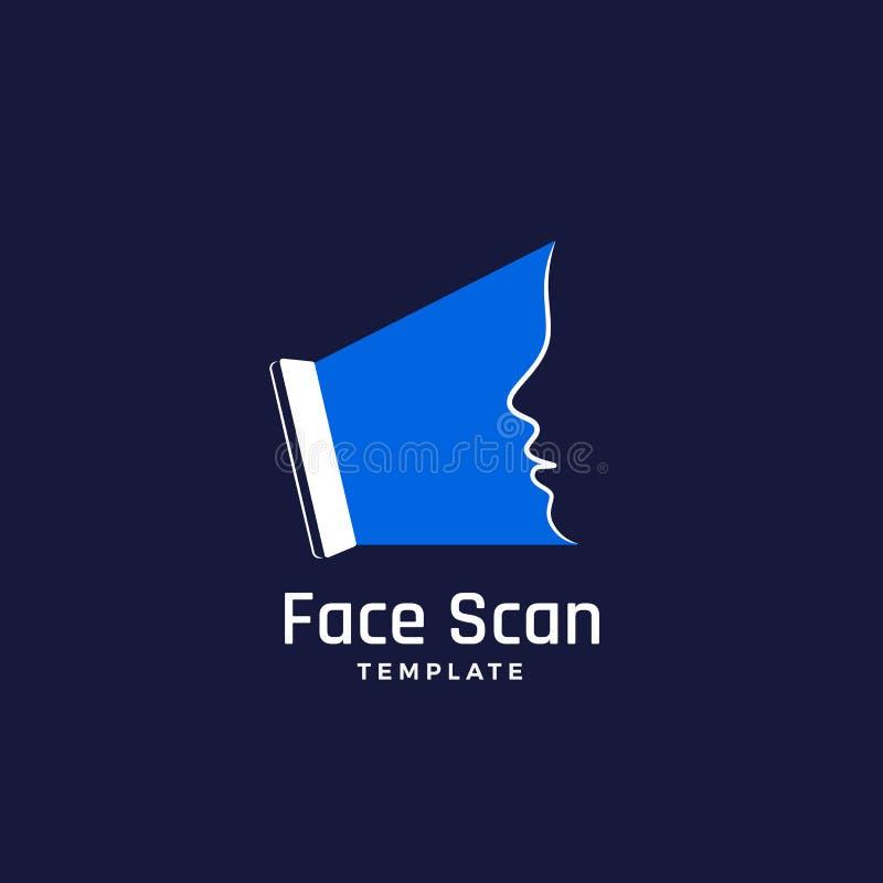 Muestra, emblema, icono o Logo Template del vector del extracto de la exploración de la cara Pantalla de Smartphone que hace una  ilustración del vector
