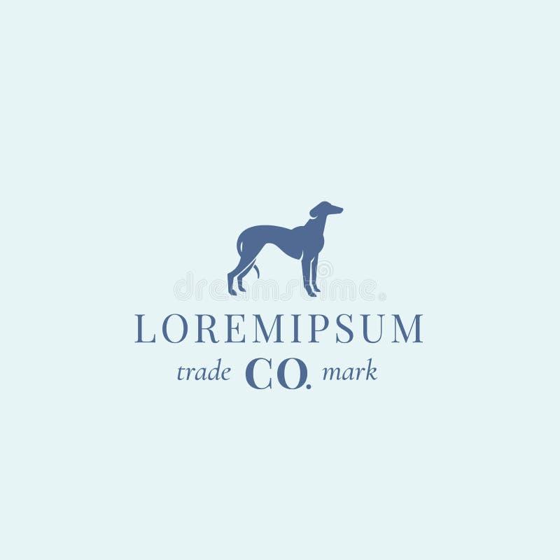 Muestra, emblema o Logo Template del vector del extracto del perro de la nobleza Silueta elegante del perro del galgo con retro c ilustración del vector