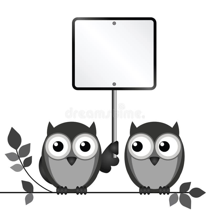 Muestra en blanco de los búhos libre illustration