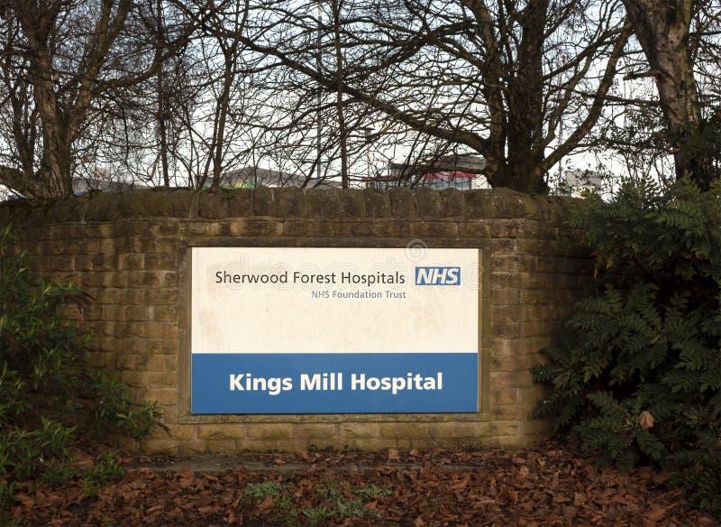 Muestra en el frente de los reyes Mill Hospital In Nottinghamshire, Inglaterra foto de archivo libre de regalías