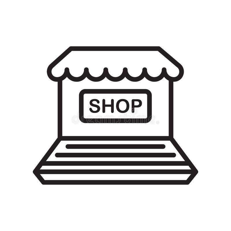 Muestra en línea y símbolo del vector del icono de la tienda aislados en el backgr blanco ilustración del vector