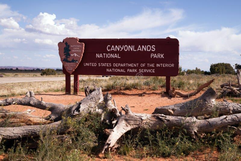 Muestra en la entrada al parque nacional de Canyonlands fotos de archivo