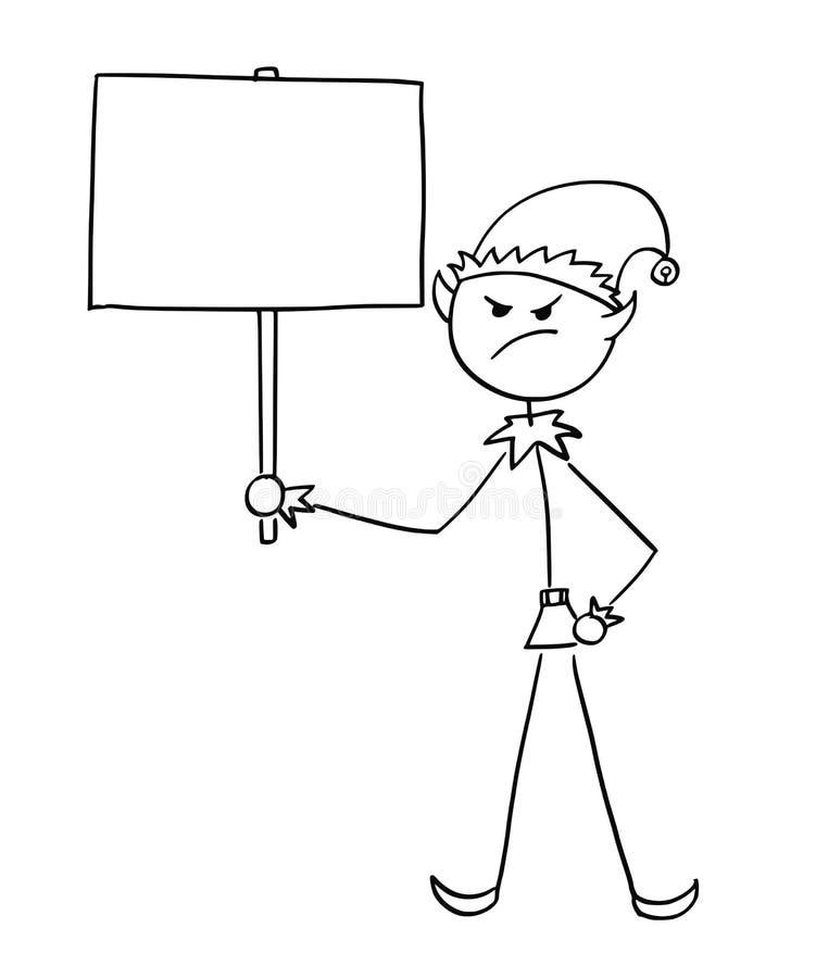Muestra enojada de Santa Claus Elf Holding Empty Blank de la Navidad ilustración del vector
