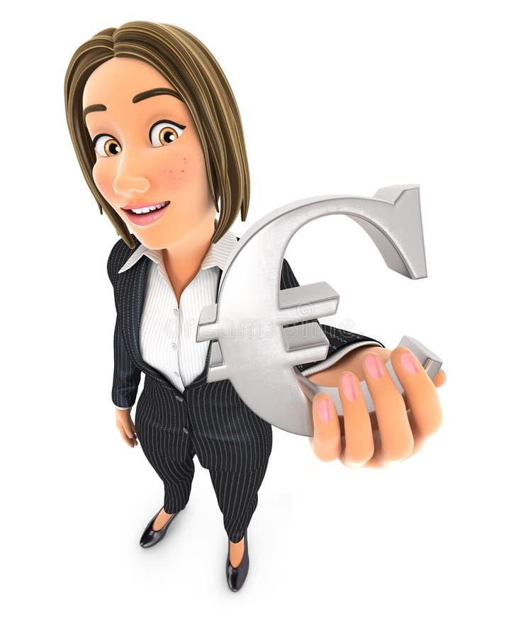 muestra euro de la mujer de negocios 3d libre illustration