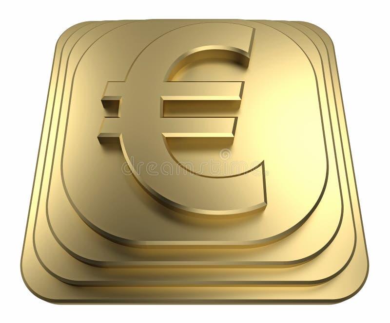 Muestra euro del oro en una representación del pedestal 3d stock de ilustración