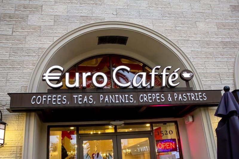 Muestra euro del restaurante de Caffe imágenes de archivo libres de regalías