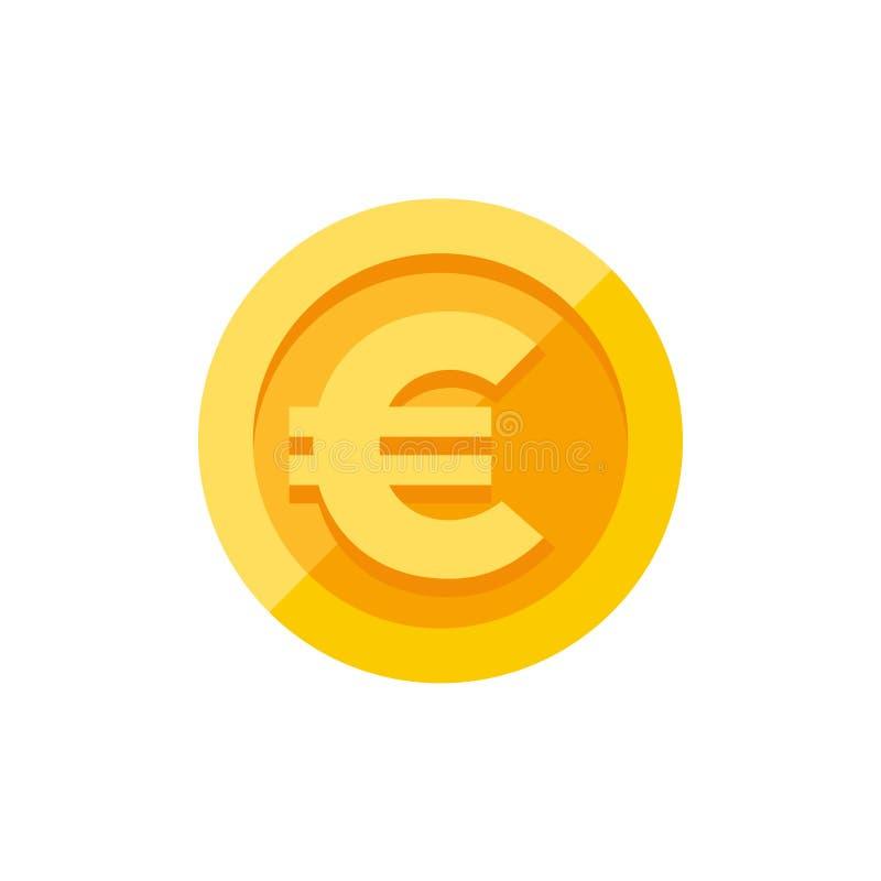 Muestra euro en estilo plano de la moneda de oro ilustración del vector