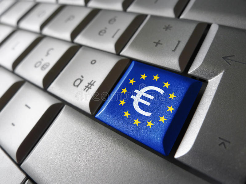 Muestra euro y llave de ordenador de la UE foto de archivo libre de regalías