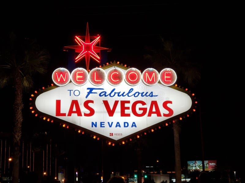 Muestra fabulosa de Las Vegas en la tira en Nevada imágenes de archivo libres de regalías