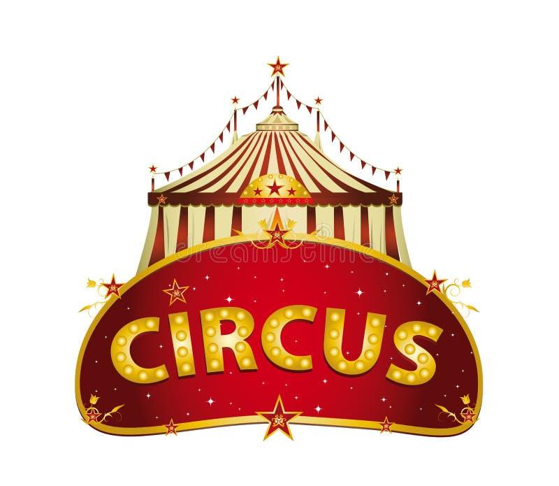 Muestra fantástica del rojo del circo ilustración del vector