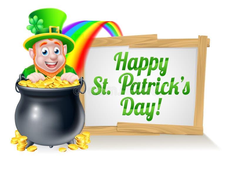 Muestra feliz del duende del día del St Patricks ilustración del vector
