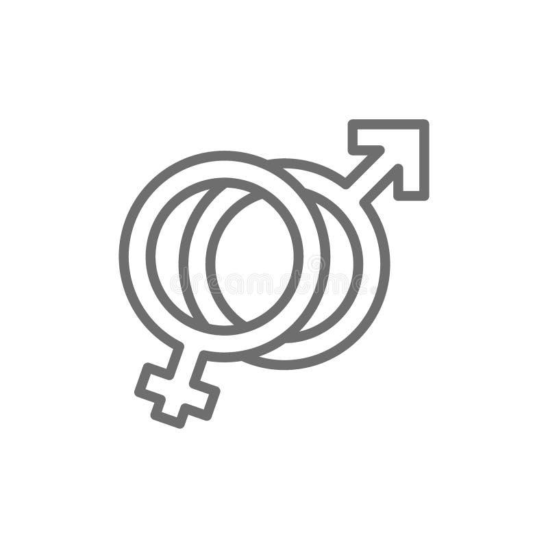 Muestra femenina y masculina de los símbolos, del hombre y de la mujer, línea icono del género stock de ilustración